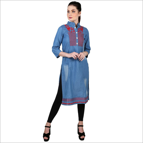 Ladies Party Wear Denim Kurti