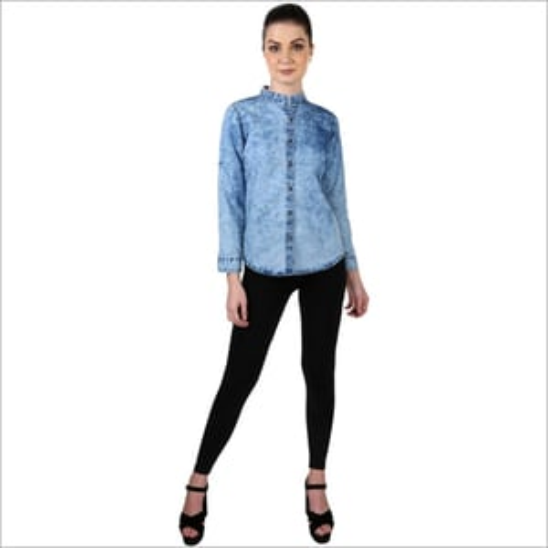 Ladies Plain Denim Shirt