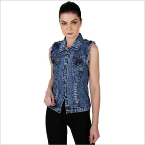 Girls Sleeveless Denim Shirt