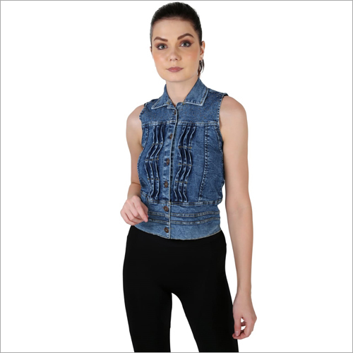 Ladies Sleevless Denim Top