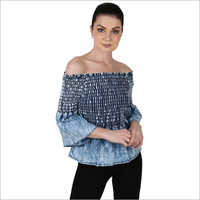 Ladies Off Shoulder Denim Top