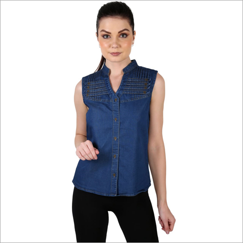 Ladies Plain Sleeveless Denim Top