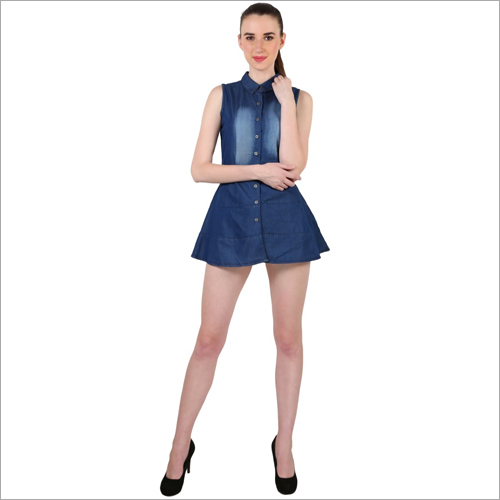 Ladies Plain Denim One Piece Dress
