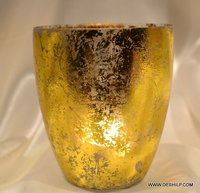 Big Traditional Amber Glass Hurricane Base Candle Holder