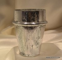 Home Decor Gift Handcrafted Glass Silver Candle Holder