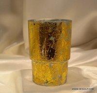 Antique Silver Glass Votive Light Candle Holder Glass Flower Vase Votive Candle Holders with Decorative Holder