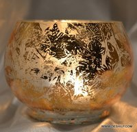 SILVER GLASS BOWL SHAPE CANDLE HOLDER