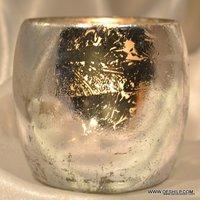 Vintage Silver Laser Stars Glass Tea Light Candle Holders