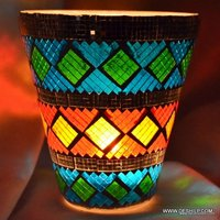 MULTI MOSAIC GLASS CANDLE VOTIVE