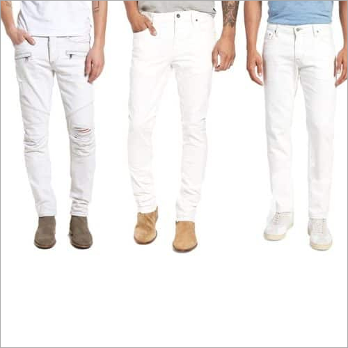 Men White Lycra Jeans