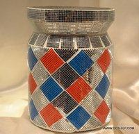 MOSAIC GLASS DECOR MULTI COLOR JAR