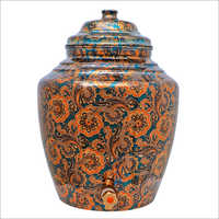 Floral Printed Copper Water Pot