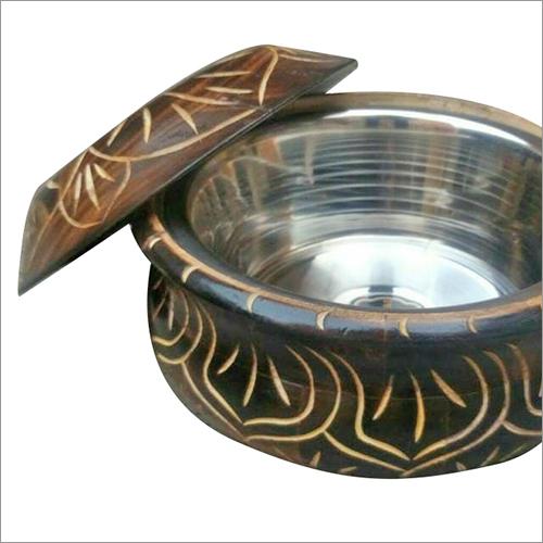 Stainless Steel Inside Wooden Based Bowl