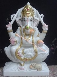 Gold Plated Marble Ganesh