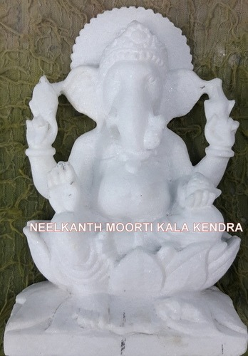 Pure White Marble Ganesh