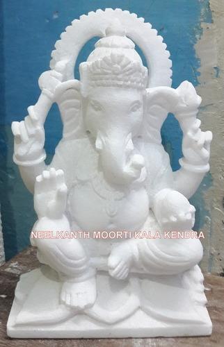 Sitting Marble Ganesha Statue