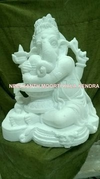 White Ganesha Marble Statue