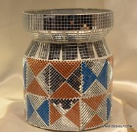 MOSAIC GLASS DECOR AND COLORFUL JAR