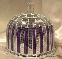 WHITE AND PURPLE MOSAIC GLASS CAKE COVER