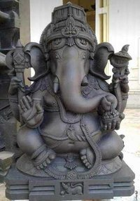 Black Stone Ganesh Statue