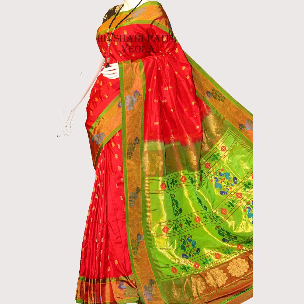 Kanchipuram Red Silk Saree with Golden Border