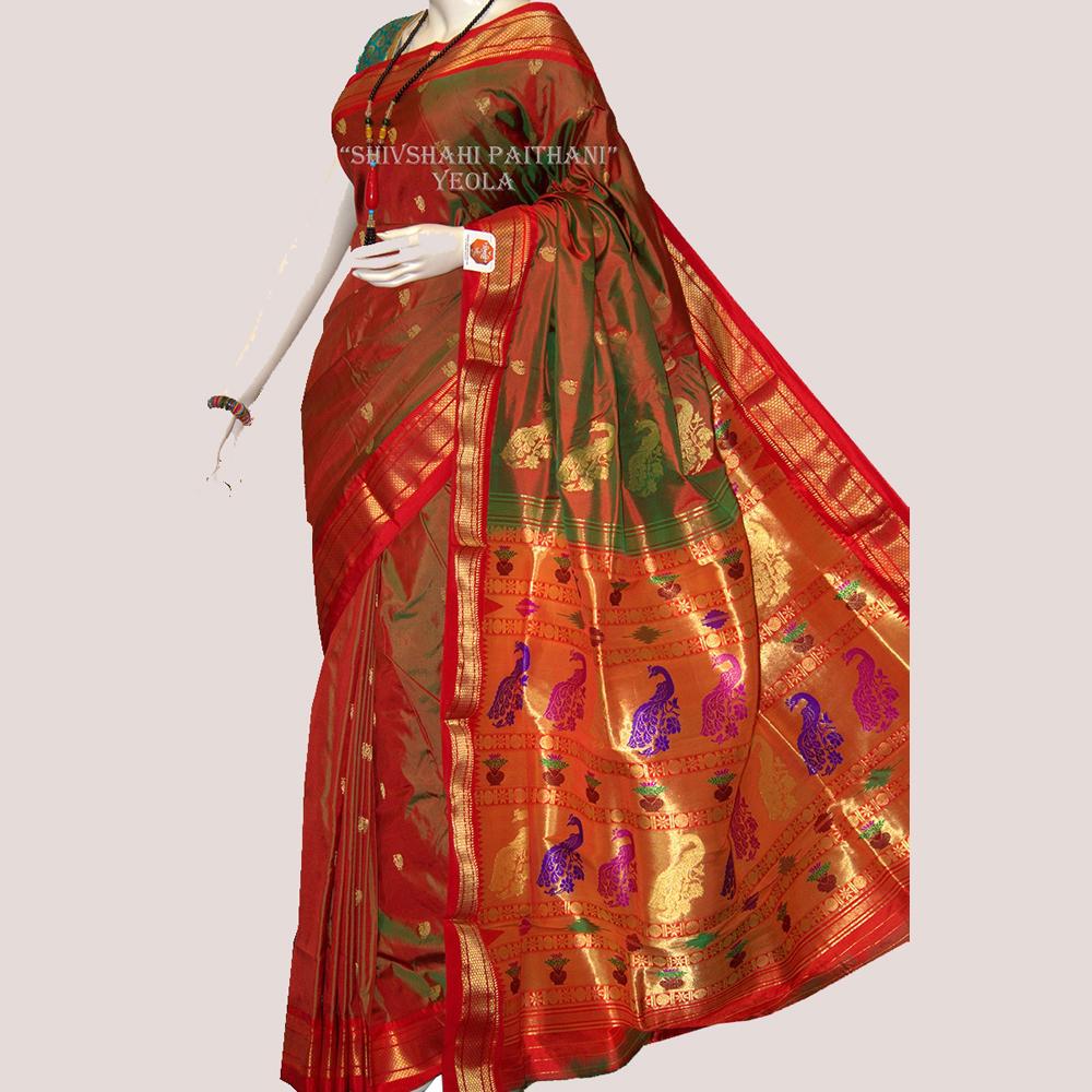 Tishhu pallu maroon paithani with golden border Saree