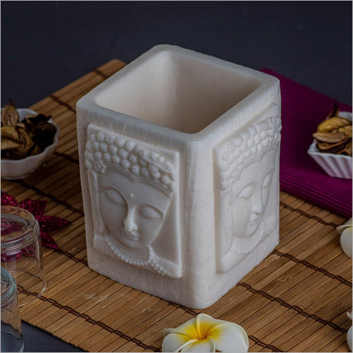 Buddha White Wax Candle Holder