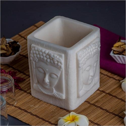 Buddha White Wax Candle Holder