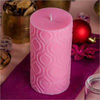 Pillar Leaf Pink Candle