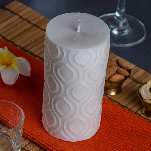 Pillar Leaf White Candle