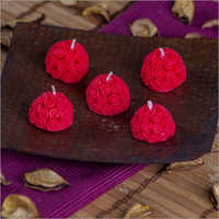 Round Rose Red Candles
