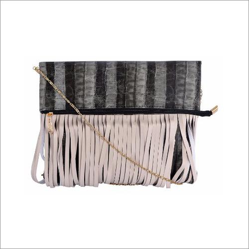 Ladies Golden Chain Leatherette Sling Bag