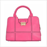 Ladies Synthetic Leather Pink Handbag