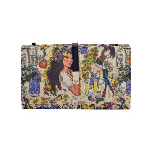 Ladies Printed Fabric Clutch