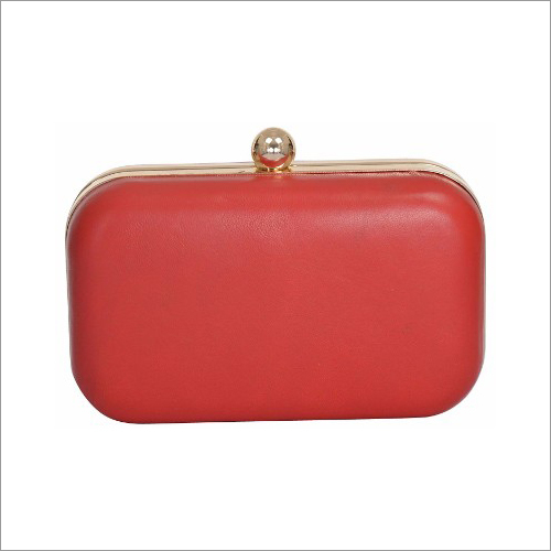 Ladies Plain Red Leather Clutch