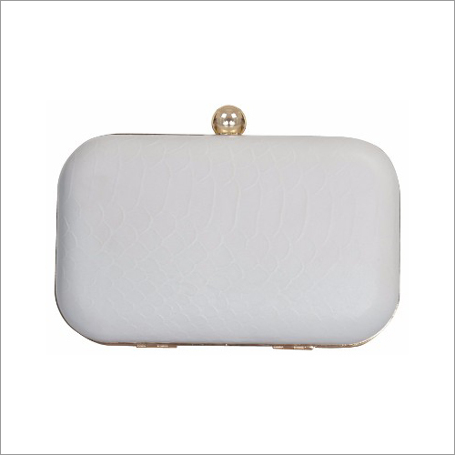 Ladies White Leather Clutch