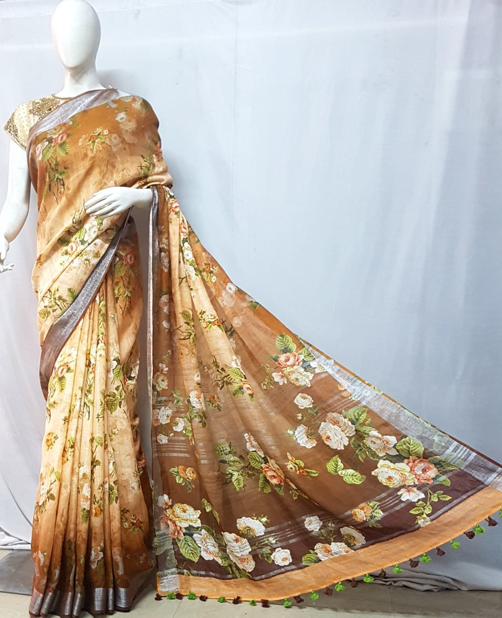 Linen ladies saree