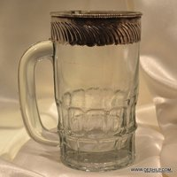 GLASS JUG WITH METAL FITTING