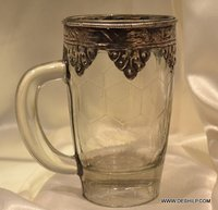 DECOR GLAS BEAR MUG WITH METAL FITTING