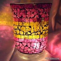 PINK MOSAIC CREAK GLASS CANDLE HOLDER
