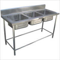 Commercial Three Sink Unit
