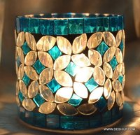 Sky Blue Home Decor Gift Handcrafted Glass Candle Holder