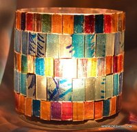 Multi Color Designer Glass Candle Holder