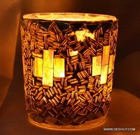 YELLOW EFFECT MOSAIC GLASS CANDLE HOLDER