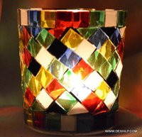 DECOR DESIGN GLASS CANDLE HOLDER