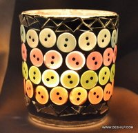 DECORATED GLASS T LIGHT CANDLE HOLDER