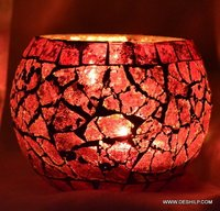 RED GLASS BOWL SHAPE CANDLE HOLDER
