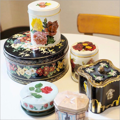 Floral Printed Tin Container