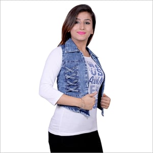 Ladies Denim Sleeveless Jacket