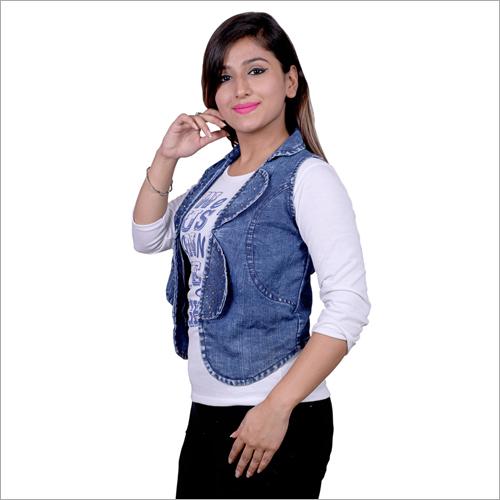 Ladies Designer Collar Denim Jacket